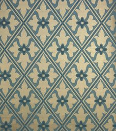 Bayham Abbey Wallpaper Gold and teal blue wallpaper with trellis design and central motif.