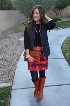 Red and Navy Plaid Skirt + Navy Sweater + Navy Quilted Vest + Cognac Boots + Belt