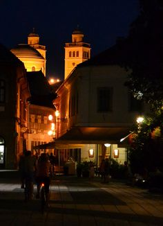 downtown in Eger, Hungary