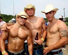 OMG! Really! shirtless cowboy hats cowboys drink beer - muscle beefcake