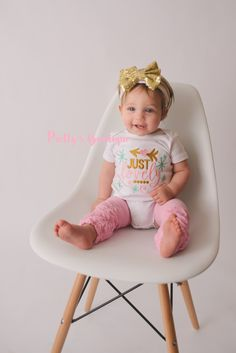 A personal favorite from my Etsy shop https://www.etsy.com/listing/288514527/pink-and-gold-outfit-for-baby-girls-just