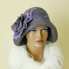 Platinum grey pearl violet  hat felted  Hat Cloche by ZiemskaArt