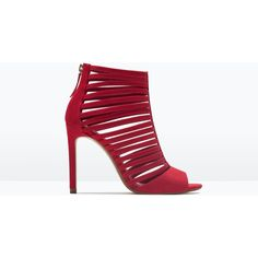 Zara Multi-Strap High Heel Sandal ($30) ❤ liked on Polyvore featuring shoes, sandals, coral, multi-strap sandals, high heel shoes, zara shoes, zara footwear and high heel sandals