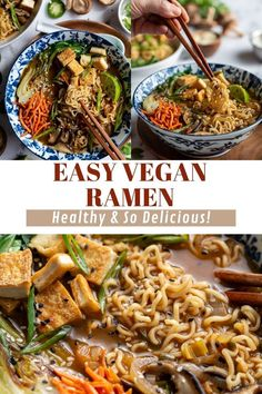 Nourishing Vegan Ramen is a flavorful blend of tofu, bok choy, green onion, ginger, mushrooms and ramen noodles, all simmered in a complex and savory broth. The perfect easy, plant-based cozy dinner or lunch for colder months! Best Tofu Recipes, Ramen Recipes, Vegetarian Recipes, Ramen Dishes, Ramen Food, Sauteed Carrots, Vegan Ramen, True Food