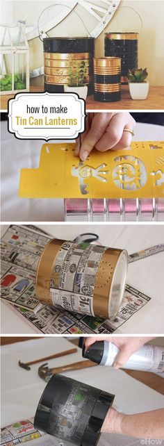 Make tin can lanterns to really upgrade your backyard or patio for the summer! Check out the step by step how-to instructions here:  http://www.ehow.com/how_3431_make-tin-can.html?utm_source=pinterest.com&utm_medium=referral&utm_content=inline&utm_campaign=fanpage