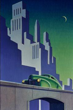 From Sue Greenwood Fine Art, Robert LaDuke, Sliver Acrylic on panel (framed), 18 × 12 in Art Deco Posters, Vintage Posters, Vintage Art, Vintage Stuff, Vintage Travel, Art Deco Illustration, Art Nouveau, Nostalgic Art, Streamline Moderne