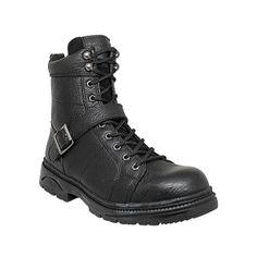 "Men's 8"" Black Leather YKK Zipper Motorcycle Biker Boot 9145 Ride Tecs"