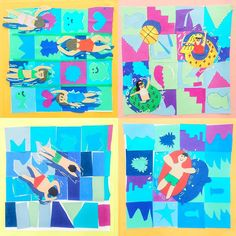 Some grade swimmers. Collage Background, Paper Background, Still Life Drawing, Dragonfly Art, Summer Art, Summer Ideas, Art Activities For Kids, Arts Ed, My Tea