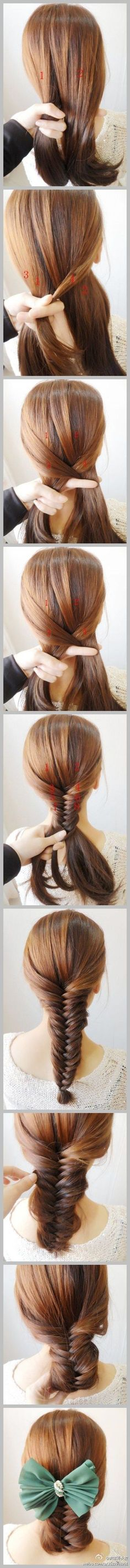 fishtail braid hair bow