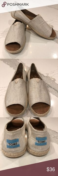 🎉NEW!🎉 TOMS Open Toe Flats So CUTE!! ⭐️NEW⭐️ without box TOMS Alpargatas Open toe flats, size 7. Very neutral tan/cream color; will go with anything!! Tried on around my bedroom, but never worn. They just aren't a great fit for me. From a clean and smoke free home 🏡 Toms Shoes