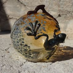 Blown-Glass Frog Ornament with Branch - Christmas or Anytime Decoration on Etsy, $38.00