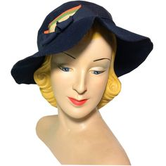 Candy Striped Ribbon Trimmed Blue Felted Wool Hat circa 1930s Dorothea's Closet Vintage Hat