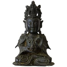 Ming Bronze Figure of Guanyin | From a unique collection of antique and modern metalwork at https://www.1stdibs.com/furniture/asian-art-furniture/metalwork/