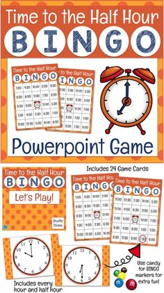 This Bingo game will have your students telling time to the hour and half hour in no time! Runs automatically through Powerpoint. Perfect for first and second grade math! Math Enrichment, Math Literacy, Math Classroom, Fun Math, Teaching Math, Teaching Ideas, Teaching Resources, Math Education, Homeschool Math