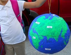 Step-by-step instructions for a paper mache globe with the world's easiest paper mache glue recipe (non-crafty mamas take note! Globe Projects, Globe Crafts, Earth Day Projects, Projects For Adults, Science Projects, School Projects, Children Projects, Kids Globe, Continents And Oceans
