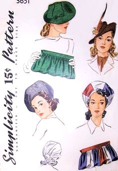RARE 1940 High Fashion Hats and Bags Pattern SIMPLICITY 3651 WW II War Time Over Sized Dramatic Beret Hats or Flirty Brim Hat Beautiful Clutch Purse Vintage Sewing Pattern