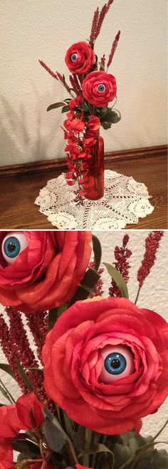 INSPIRATION - Creepy Eyeball Flowers - blue eyes (No specified source) #halloween #decor