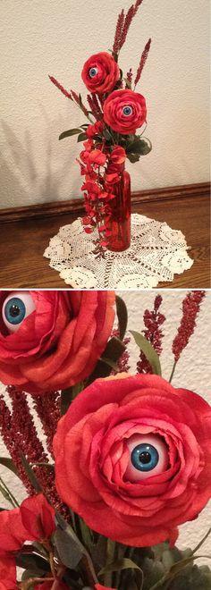 INSPIRATION - Creepy Eyeball Flowers - blue eyes (No specified source) #halloween #decor