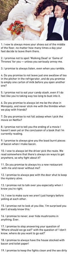 19 Honest Marriage Vows That Couples Should Actually Make