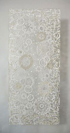 ~ Beautiful!  Georgette Benisty-Painting with Lace on Plexiglass-Prayer Series-White on White
