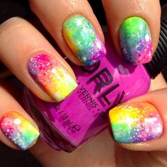 Image viaCheck out this gallery of galaxy nail art if you need inspiration for your next manicure!Image viaSimple, Realistic Galaxy Nails Tutorial, featuring JINsoon Obsidian - This is Rainbow Nails, Neon Nails, Love Nails, Diy Nails, Pretty Nails, Rainbow Galaxy, Gradient Nails, Galaxy 3, Neon Rainbow