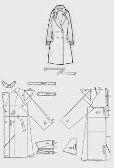 Coat Pattern Sewing, Sewing Coat, Coat Patterns, Pattern Drafting, Dress Sewing Patterns, Jacket Pattern, Doll Clothes Patterns, Sewing Clothes, Clothing Patterns