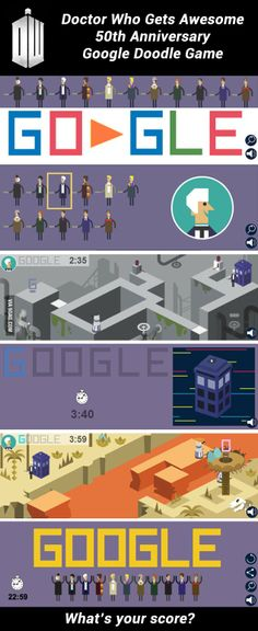 """""""Doctor Who"""" Google Doodle game launches to celebrate 50th anniversary! How much time do you take to finish it?"""