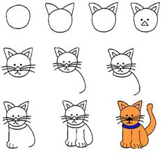 Kolay Kedi Çizimi #okuloncesi #okulöncesi #ilkokul #anaokulu #diy #kendinyap #cocuk #egitim #ögretim