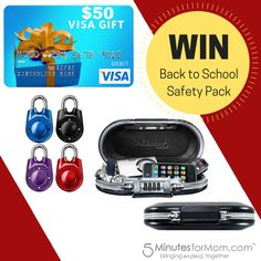 Master Lock Back to School Safety Prize Pack - Win a $50 Amazon Gift Card and two Master Lock products.   Ends Aug 29.