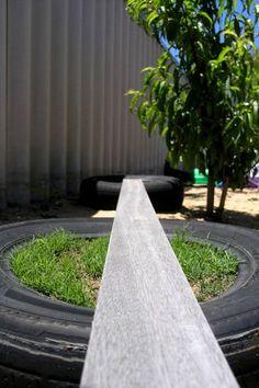 Outdoor Play - simple to make backyard balance beam