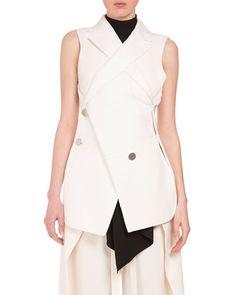 PROENZA SCHOULER Asymmetric Button-Front 2-In-1 Vest, Off White, Open Off White. #proenzaschouler #cloth #