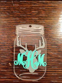 Mason jar key chain with deer head and initials by Idealinitials #keychain…