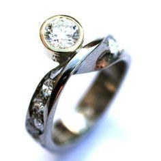 Diamond and sterling silver mobius twist ring Twist Ring, Diamond Jewelry, Bracelet Watch, Wedding Ideas, Jewels, Jewellery, Weddings, Sterling Silver, Bracelets
