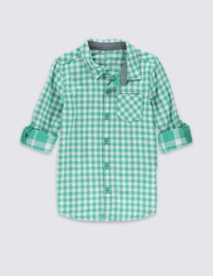 Pure Cotton Gingham Checked Double Face Shirt (1-7 Years)