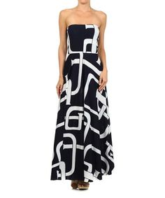 Another great find on #zulily! Navy & White Geometric Strapless Maxi Dress - Women by Karen T. Design #zulilyfinds