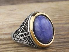 Metal : 925 K Sterling Silver Weight: 9.50 gr (Approximate) Gemstones: Lapis Top of the ring : 20 mm x 15 mm  All products 100% guaranteed  925 sterling silver with 925.hallmark