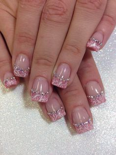 Amazing gel manicure, sparkly pink French... Hand painted white design, Swarovski Crystals lining each nail..