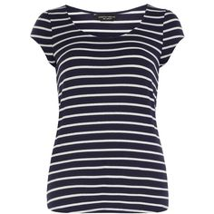 Dorothy Perkins Navy stripe puff sleeve tee (€8,89) ❤ liked on Polyvore featuring tops, t-shirts, shirts, blue, navy blue shirt, short sleeve t shirt, blue t shirt, navy blue t shirt and blue shirt