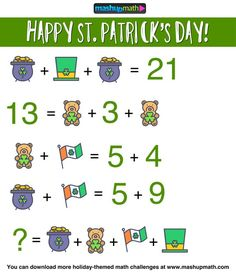 5 Free St Patricks Day Math Activities for Grades Math Games, Math Activities, Math Writing Prompts, Math Challenge, Daily Math, Maths Puzzles, Number Puzzles, Math About Me, 1st Grade Math