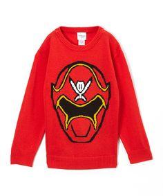 Look what I found on #zulily! Red Power Ranger Crew Intarsia Sweater - Boys #zulilyfinds