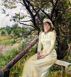 Christian Krohg Ung Kvinne Pa En  Benk Young Woman Bench artista quadro dipinto