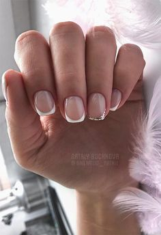 27 Fresh French Nail Designs: How to Do French Manicure at Home - Fresh French Nail Designs: French Manicure Ideas - French Nails, French Manicure Kit, French Acrylic Nails, Manicure At Home, Manicure Ideas, Em Nails, Pointy Nails, Cute Nails, Hair And Nails