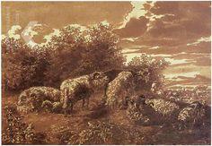 Jan de Bisschop Heuvellandschap met herder en schapen Parijs/New York, art dealer Haboldt & Co. ~ drawing, brown ink, brown wash