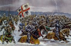 The Italian campaign of 1495 s a turning point, so I will post it here, in spite of the medieval flavor  Battle of Fornovo 1495, the Italians ford the river Taro