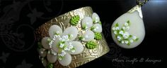 What beautiful applique of Polymer Clay on these jewelry pieces