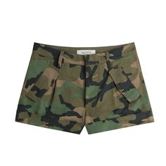 Valentino Valentino Cash & Rocket Camouflage Cotton Shorts (12 045 ZAR) ❤ liked on Polyvore featuring shorts, green, camo print shorts, zipper shorts, cotton shorts, fitted shorts and green camo shorts