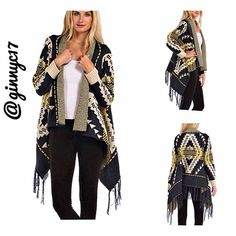 One of a Kind! Aztec Fringed Sweater Cardigan OVERSTOCK ITEM! Boutique Label! Get Ready for WINTER with this MUST HAVE Fringed Sweater Cardigan with high/low hem. Material 70% Acrylic 20% Polyester 10% Polyamide Please Note- SM/MED Fits 0-6 *See Attached Size Size Chart* MARKED Near Boutique Wholesale. Boutique Jackets & Coats