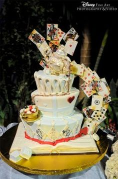 Vintage Alice in Wonderland Wedding Cake