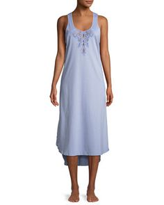 Natori Bliss Lace-Inset Sleeveless Cotton Nightgown ae1e66eee