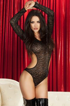Chilirose Luscious Body £21.50  A Sexy Luscious Teddy from Chilirose Lingerie. Sheer black body with black leopard print design. The body has long sleeves and is open on the sides and extends all the way around the back.
